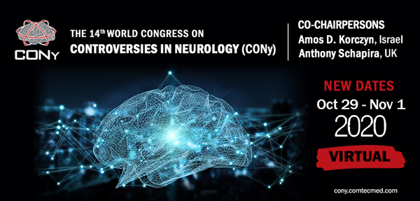The 14th World Congress on Controversies in Neurology (CONy) taking place virtually (free registration) ​October 29 – November 1, 2020